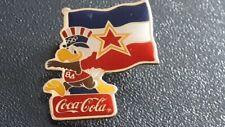 Vintage Yugoslavia Sam The Eagle 1984 Los Angeles Olympic Flag Coca-Cola Pin !