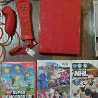 Red Nintendo Wii Lot with Super Mario Bros Wii, Red Nunchuck and Remote