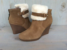 UGG ANTONIA CHESTNUT SUEDE FUR CUFF WEDGE ANKLE BOOTS BOOTIES US 7.5 NIB