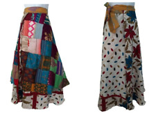 Unique Patchwork Reversible Silk Wraparound Tie Skirt Blue Red Boho Festival