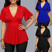 Womens Summer Short Sleeve Tunic Plus Size T-shirts V Neck Tees Solid Blouse Top