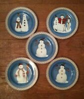 "Set of 5 ""Snowman"" Pattern Plates 8"" By Debbie Mumm Sakura Oneida Lot Christmas"
