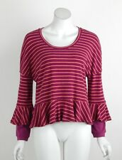Free People We The Free Round About Tee Top Shirt Long Sleeves Purple XS New