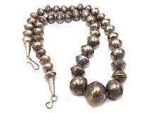 GORGEOUS Vtg NAVAJO Modernist Sterling Silver HANDMADE Tapered BEADED Necklace