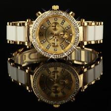 Damenuhr Weiß Gold Strass Kristallen Damen Armbanduhr Uhr Geschenk UVP:79€ U1216