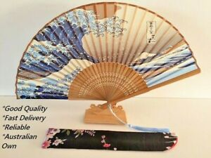 Japanese Silk Hand Fan - Hand painted best quality with Silk Fan Holder DSF003