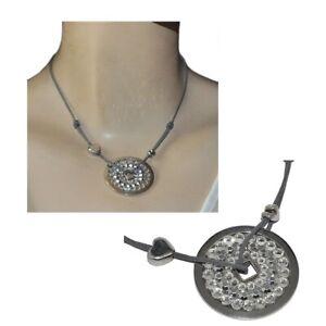 GAS BIJOUX Collier plaqué argent cercle cristal blanc cordon gris bijou