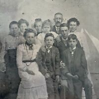 Antique Early Tintype Photograph Large Family Group Photo Men Women Children