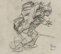 Robert von HAUG (*1857), Preußischer Soldat im Angriff, um 1870, Bleistiftzchng