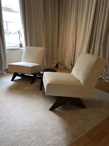 Pierre Jeanneret Upholstered Easy Chair Paar  Mid Century Re-Edition
