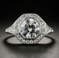 Antique Engagement Ring In 925 Sterling Silver 1.2 Ct Floral Art Deco Round Cut