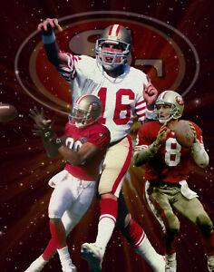 SF 49ers Lithograph print of Joe Montona, Jerry Rice, Steve Young 11 x 14