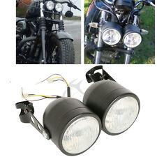 Twin Dual Front Headlight W/ Bracket For Sport Dirt Bike Street Harley Fat Boy