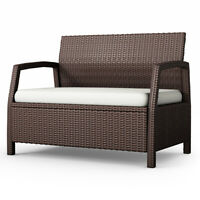 .Outdoor Rattan Loveseat Bench Couch Chair With Cushions Patio Furniture Brown