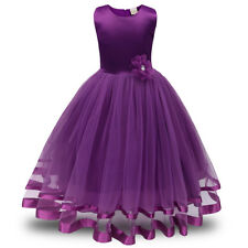 Floral Girl Kids Tutu Dress Sequins Princess Party Wedding Bridesmaid Tulle Gown