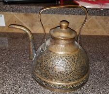 Persian brass copper tea or water kettle antique, hand engraved