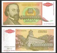 YUGOSLAVIA 5 Billion (5000000000) Dinara, 1993, P-135, World Currency