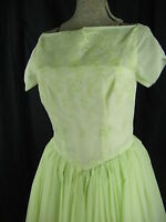 Vtg 60-70s Light Green Illusion Lace 50s Inspired Prom Dress-Bust 34/XXS
