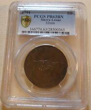 RARE SIERRA LEONE COMPANY 1791 PROOF PENNY PCGS PR63BN KM#2.1 EXCELLENT