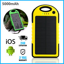 Waterproof 5000mAh Sun Solar Power Bank Battery Chargeur iPhone Samsung Yellow