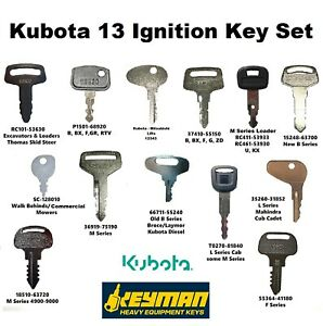 Kubota 13 Construction Equipment Ignition Key Set Fits L M B F BX F GR RTV more