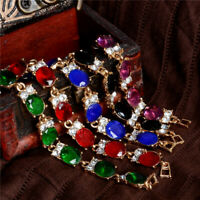18K Gold Plated Women Rhinestone Crystal Bracelet Adjustable Bangle Cuff Jewelry