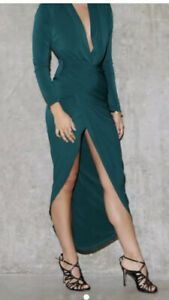 S/M (AUS) NEVER FULLY DRESSED Forrest Green Low Cut High Slit Fred Dylan Dress