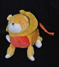 Peluche Doudou Lion IKEA Jaune Rouge Orange Rayé Blanc 20 Cm De Long Etat NEUF