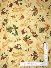 Christmas Horn Harp Drum Music Cotton Fabric Timeless Treasures CM3413 - Yard