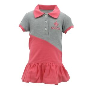 New Orleans Saints NFL Infant Toddler Girls Pink Polo Cheerleader Dress Outfit
