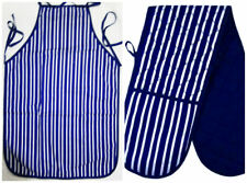 100 Cotton Quilted Double Oven Gloves Padded and or Apron Kitchen Holder Baking Oven Glove Blue