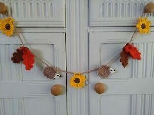 Crochet Autumn Bunting Sunflowers Hedgehogs Oak Leaves Home Decor Dresser Arbor
