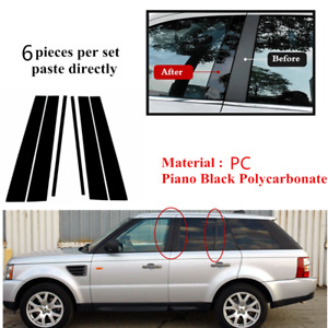 6pc Pillar Posts Door Trim Black Fit For LAND ROVER Range Rover Sport