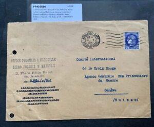 1941 FRANCE WWII POLISH OFFICE MARSEILLE > SWITZERLAND POW AGENCY ! PRISONER WAR