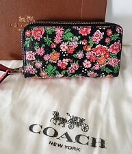 Coach Black Floral Leather Mini Double Zip Wallet w/Gift Box Dustbag F57985 NWT