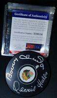 PSA/DNA BOBBY HULL HOF er & DENNIS HULL DUAL SIGNED CHICAGO BLACKHAWKS PUCK
