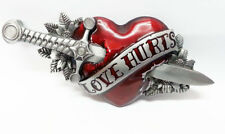 NEW LOVE HURTS TATTOO STYLE BELT BUCKLE Roses Romance Love Large Bergamot