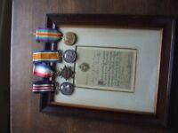 W.W.1.1914/18  MILITARY MEDAL & 1914/15 TRIO. ORIGINAL BRIGADE CITATION IN FRAME