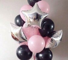 13pc 10'' Black/Pink Latex Ball 18'' SilverStar Foil Balloon Birthday Party Dec
