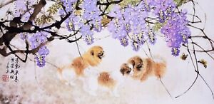 Lovely dogs-ORIGINAL ASIAN FINE ART CHINESE FAMOUS ANIMAL WATERCOLOR PAINTING