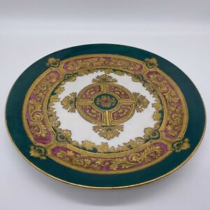 hand painted andrea by sadek plate green and gold