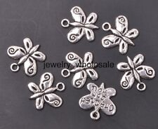 50pcs Tibetan Silver Charms Butterfly pendant DIY Jewelry 13x13mm A3161