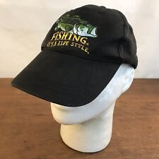 Fishing It's A Life Style Black Cotton Strapback Baseball Cap Hat CH27