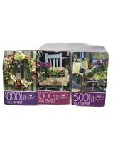 Set of Three Puzzles by Cardinal 2-1000,1-500 Flowers