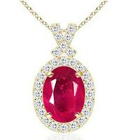 14KT Yellow Gold Natural Red Ruby 2.00Ct EGL Certified Diamond Pendant