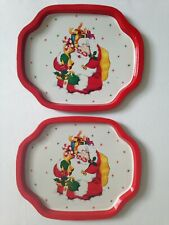 Vintage Xmas Santa Metal Tin Hospitality Trays Hong Kong Kitsch Starburst Holly