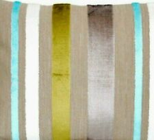 "Striped Velvet Cushion Cover Designers Guild Fabric Trasimeno Square 16"""