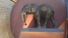 Brass Elephant Sculpture on Marble Base.