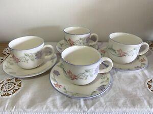 Royal Doulton ~ Summer Carnival ~ Mauve & Peach Flowers ~ 4 Cup & Saucer Sets