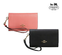 NWT COACH Flap Phone Wallet Leather Wristlet Leather Pink Black Gold Cute F30205